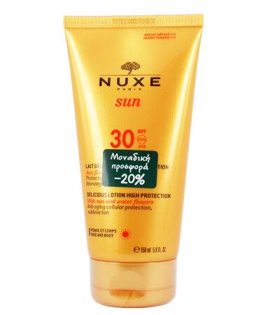 Nuxe Sun Delicious Lotion High Protection SPF30 Αντιηλιακό Γαλάκτωμα για Πρόσωπο & Σώμα 150ml