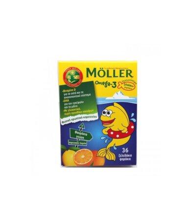 Moller's Omega-3 36 Ζελεδάκια-Ψαράκια με Γεύση Λεμόνι-Πορτοκάλι