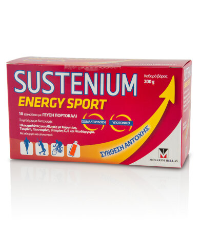 Sustenium Energy Sport Συμπλήρωμα για Αθλητές, με γεύση πορτοκάλι, 10 φακελάκια