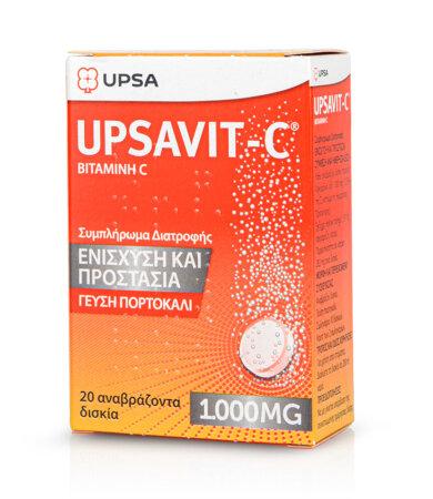 Upsa Upsavit-C Vitamin C 1000mg 20 Αναβράζοντα Δισκία με γεύση Πορτοκάλι