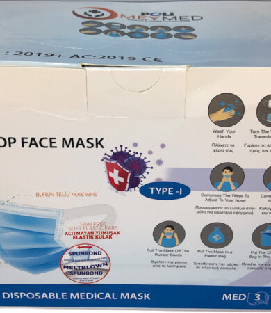 POLI MEYMED 3PLY TYPE I ΣΙΕΛ EAR LOOP FACE MASK 50PCS