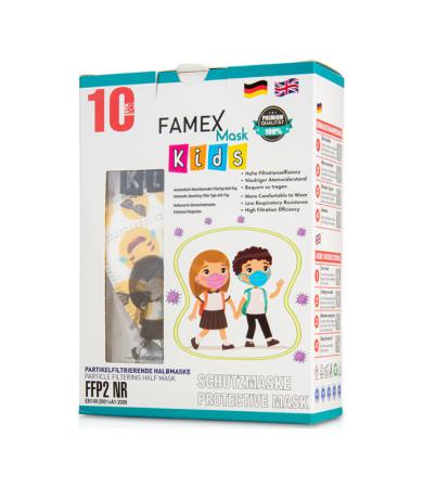 Famex Kids Mask FFP2 NR Boys Emoticon 10pcs