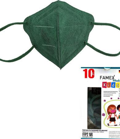 Famex kids mask ffp2 NR forest green 10pcs
